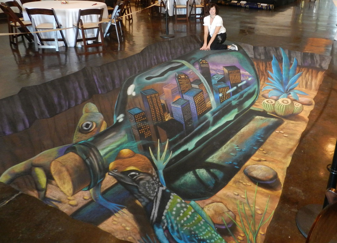 Bottle 3D Chalk Art By Tracy Lee Stum
