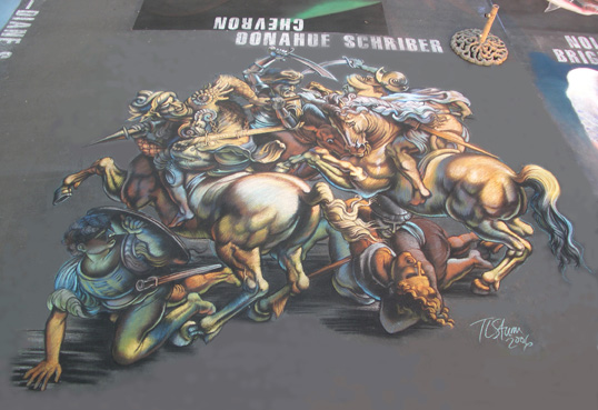 Battle of Anghiari 3D Chalk Art by Tracy Lee Stum