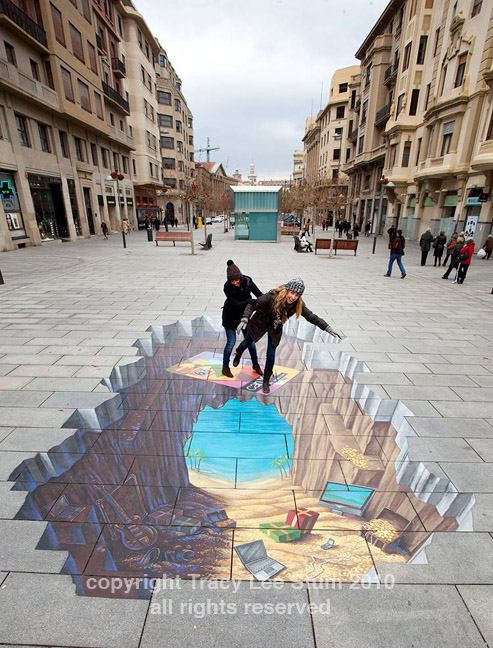 3d street painting -pamplona Spain -Tracy Lee Stum