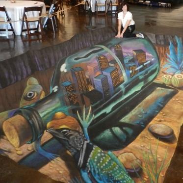 Bottle 3D Chalk Art By Tracy Lee Stum