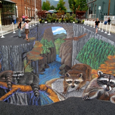 Hellgate Canyon 3D Chalk Art By Tracy Lee Stum