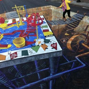 Mousetrap Bridge 3D Streetpainting by Tracy Lee Stum