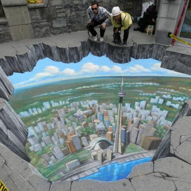 Toronto Tourism Board 3D Chalk Art by Tracy Lee Stum